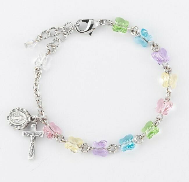 Youth Swarovski Crystal Multi-Color Butterfly Rosary Bracelet