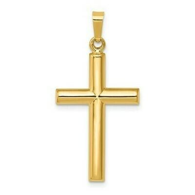 14kt. Gold Tube Cross Pendant (Medium)