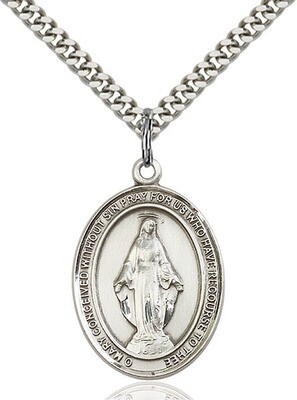 """Sterling Silver Miraculous Medal Pendant on a 24"""" Light Rhodium Heavy Curb Endless Chain"""