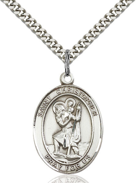 Sterling Silver St. Christopher Pendant on a 24