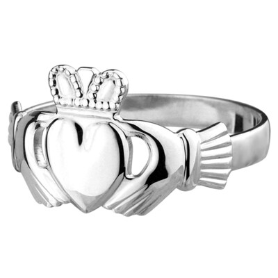 Mens Claddagh Ring- Sterling Silver- Our Standard Silver Mens Claddagh Ring