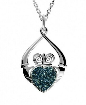 """Sterling Silver Claddagh Drusy Pendant- Sea Green, & 18"""" Sterling Silver Chain"""