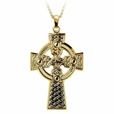 10kt Yellow Gold Traditional Celtic Knot Cross- Medium, and 10kt 18