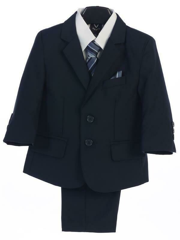 Navy Blue boy's two button suit with jacket, vest, shirt, tie, pants
