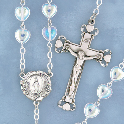 Crystal Heart Shaped Bead Rosary with Sterling Silver Crucifix and Centerpiece