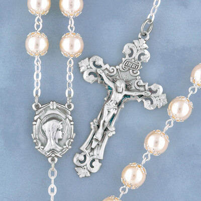 Double Capped Pearl Rosary with Sterling Silver Crucifix and Centerpiece
