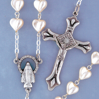 White Pearl Heart Rosary