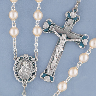 Silverplated Glass Pearl Rosary