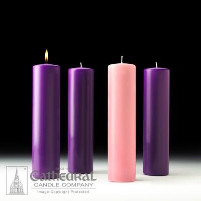 Church Advent Candle Set- Stearine Pillar, 3