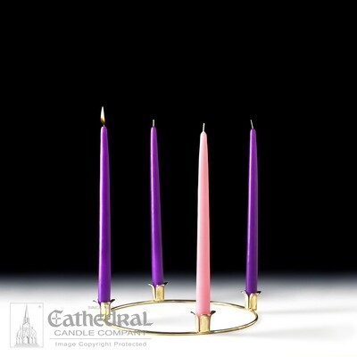 Metal Advent Home Wreath Set and Candles (3 Purple, 1 Rose)
