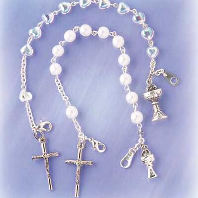 Crystal Heart First Communion Rosary Bracelet