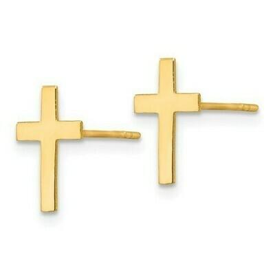 14kt Gold Polished Cross Earrings
