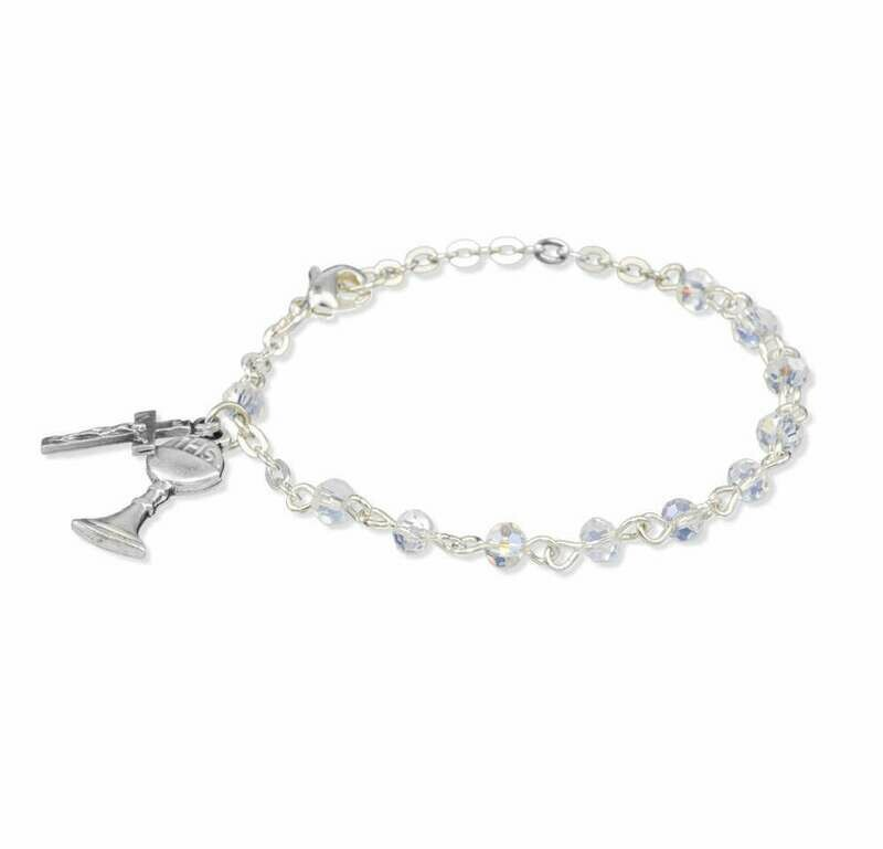 Youth First Communion Crystal Aurora Bead Rosary Bracelet