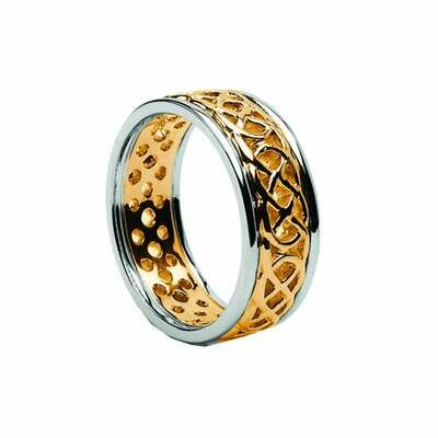 Mens 10kt Yellow Gold/White Gold Trim Pierced Celtic Wedding Band