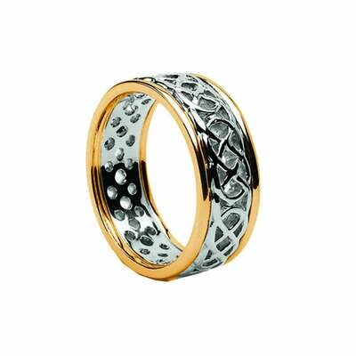 Mens 10kt White Gold/Yellow Gold Trim Pierced Celtic Wedding Band