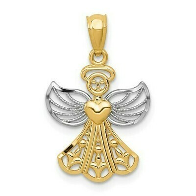 14kt. Gold and Rhodium Filagree Angel Pendant