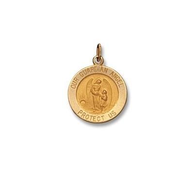 """5/8"""" Diameter 14kt Solid Gold Guardian Angel Medal"""