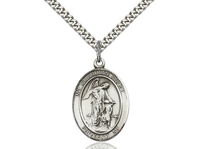 "Sterling Silver Oval Guardian Angel Medal on a 24"" Light Rhodium Heavy Curb Chain"