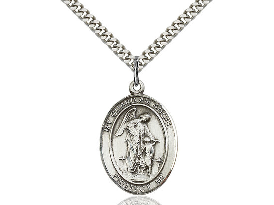 Sterling Silver Oval Guardian Angel Medal on a 24