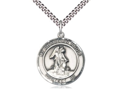 "Sterling Silver Round Guardian Angel Pendant on a 24"" Light Rhodium Heavy Curb Chain"