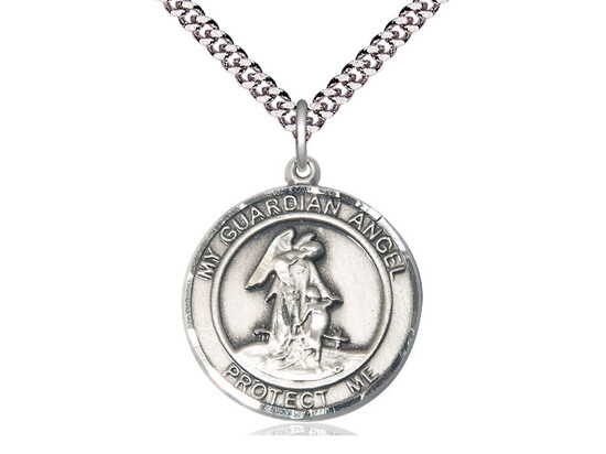 Sterling Silver Round Guardian Angel Pendant on a 24