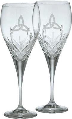 Galway Irish Crystal Trinity Knot Red Wine Pair
