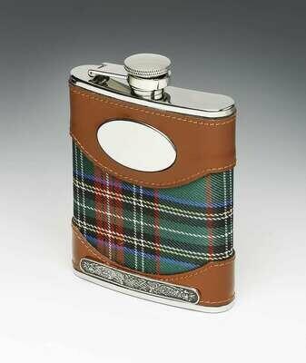 Mullingar Pewter Leather Bound Whiskey Tartan Flask with Pewter Design (6oz)