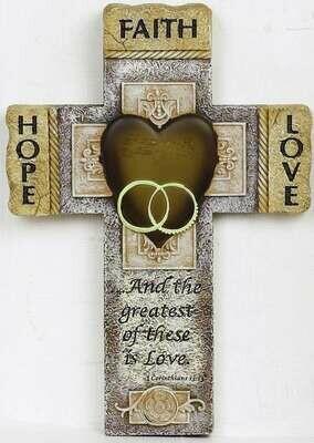 """""""Faith Hope Love"""" Wall Cross"""