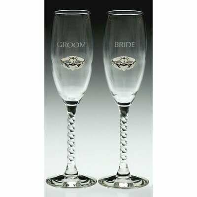 Bride and Groom Claddagh Wedding Flute Glasses