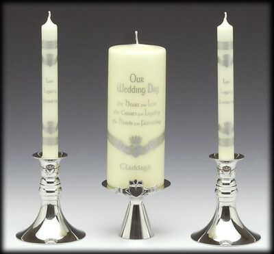 Mullingar Pewter Unity Candle Holders for Wedding- Claddagh