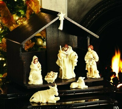 Belleek Classic Nativity Set- Stable Included