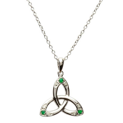 Sterling Silver Celtic Trinity Knot Pendant Set with Emerald and Diamond & 18