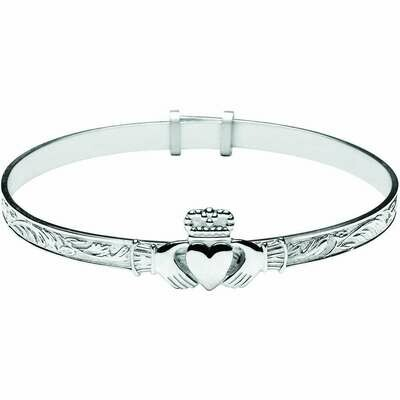 Sterling Silver Baby Expandable Claddagh Bangle