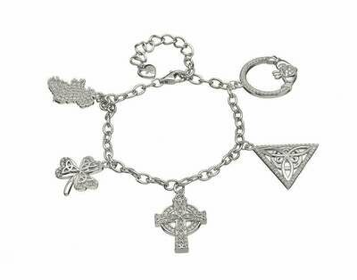 Sterling Silver Irish Charm Bracelet with CZ's