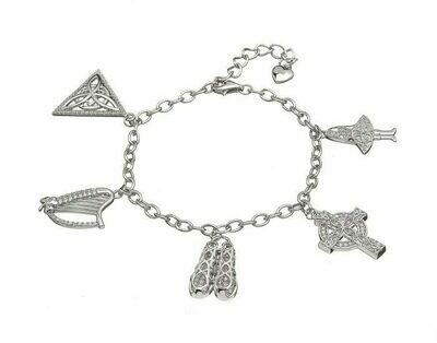 Sterling Silver Irish Dancing Charm Bracelet with CZ's