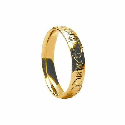 Ladies 10kt Gold Court Claddagh Wedding Band