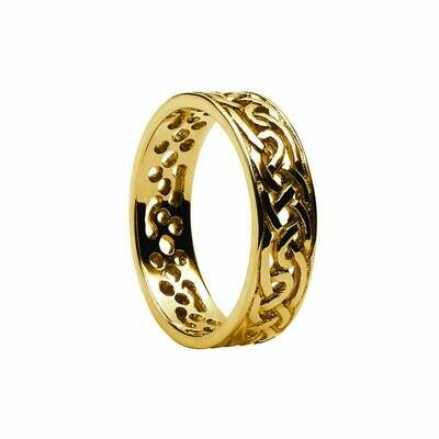 Mens 10kt Gold Filigree Celtic Wedding Band