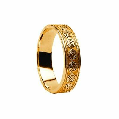 Mens 10kt Gold Spirals Celtic Wedding Band