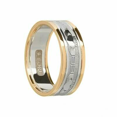 Ladies 10kt Gold Claddagh White Gold/Yellow Gold Trim Wedding Band
