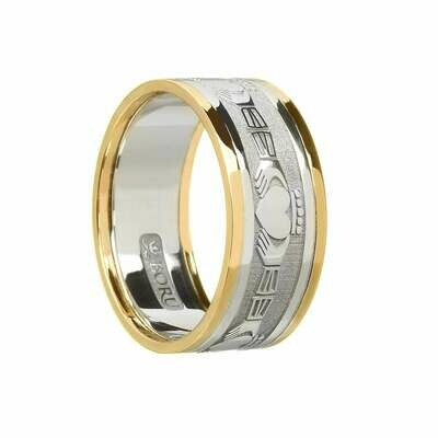 Mens 10kt Gold Claddagh White Gold/Yellow Gold Trim Wedding Band