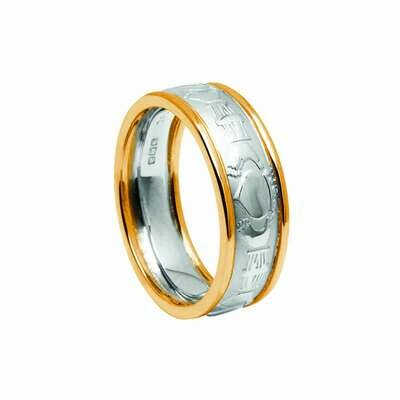 Mens 10kt White Gold Claddagh Court/Yellow Gold Trim Wedding Band