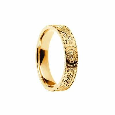 Ladies 10kt Gold Celtic Warrior® Shield Wedding Band, Comfort Fit