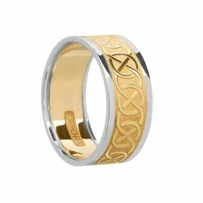 Mens 10kt Yellow Gold/White Trim Celtic Wedding Band