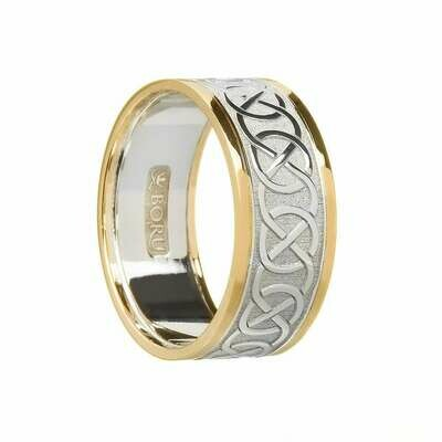 Mens 10kt White Gold/Yellow Gold Trim Celtic Wedding Band