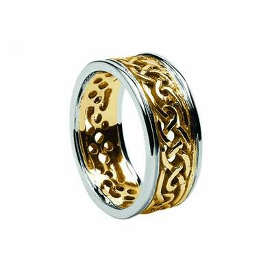 Mens 10kt Yellow Gold/White Gold Trim Filagree Celtic Wedding Band
