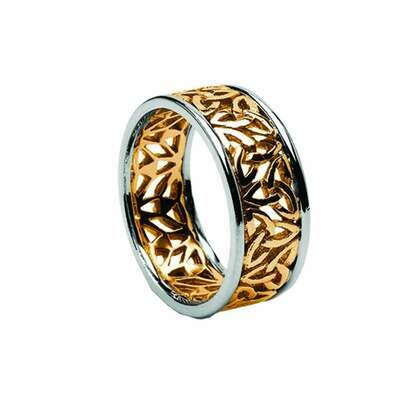 Mens 10kt Yellow Gold/White Gold Trim Trinity Filigree Wedding Band
