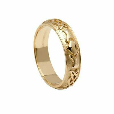 Ladies 10kt Gold Claddagh Celtic Knot Wedding Band