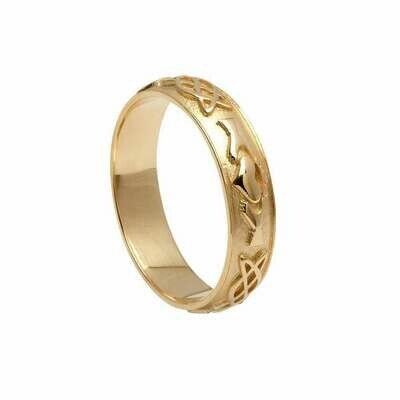 Mens 10kt Gold Claddagh Celtic Knot Wedding Band