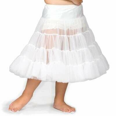 Girls White Bouffant Half-Slip Petticoat- Tea Length