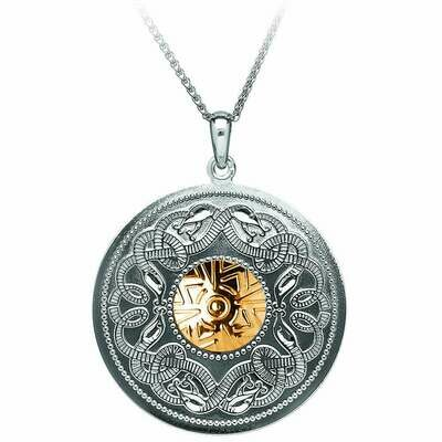 Sterling Silver Celtic Warrior® Shield Pendant with 18K Gold Bead- XL & 22